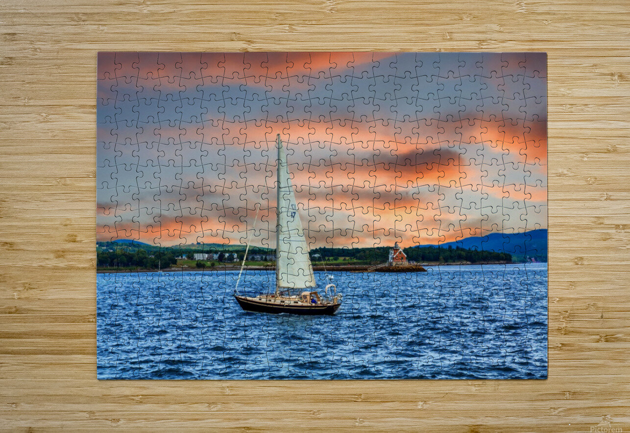 Sailboat and Lighthouse  HD Metal print with Floating Frame on Back