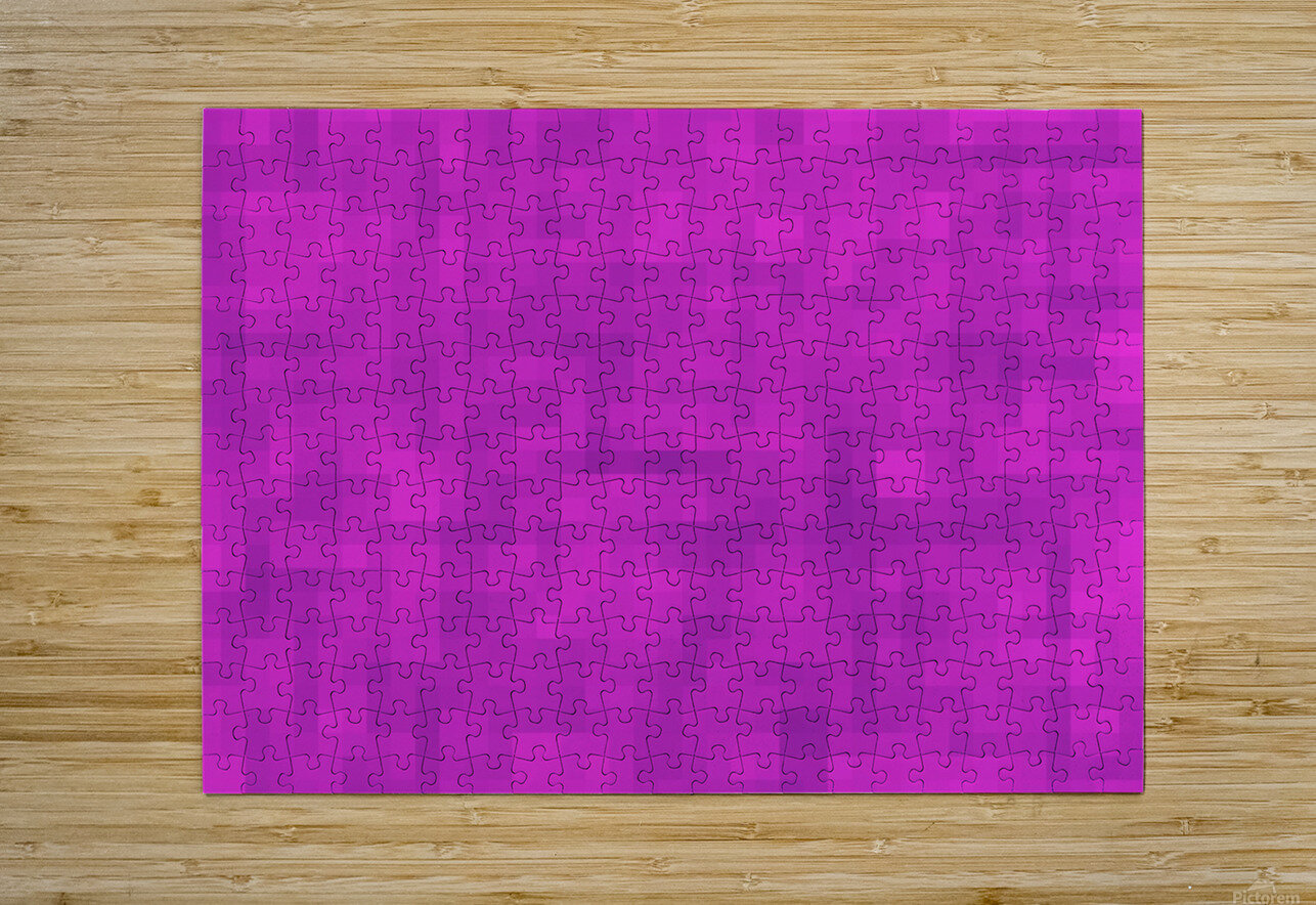 geometric square pixel pattern abstract in pink and purple  HD Metal print with Floating Frame on Back