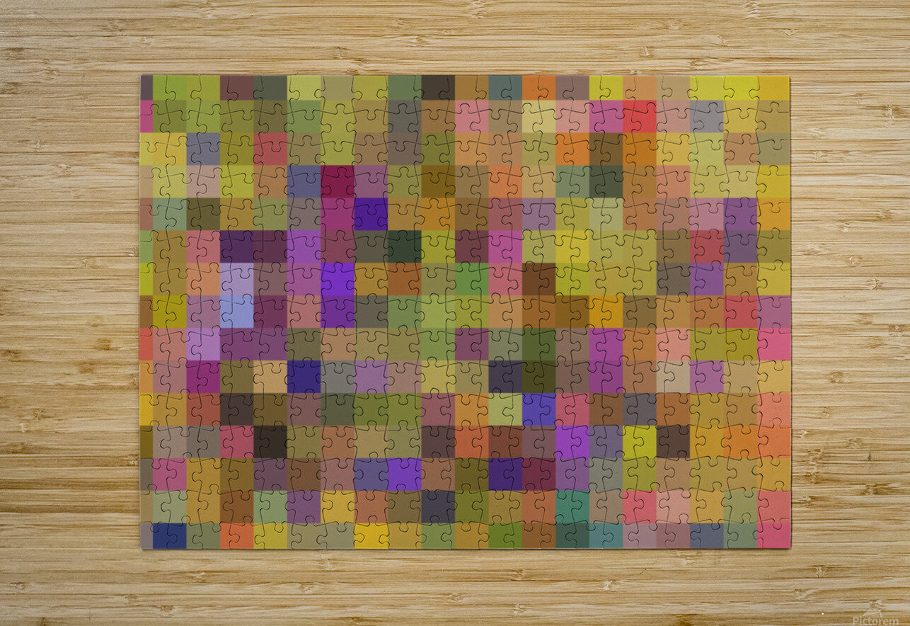 geometric square pixel pattern abstract in yellow green purple  HD Metal print with Floating Frame on Back