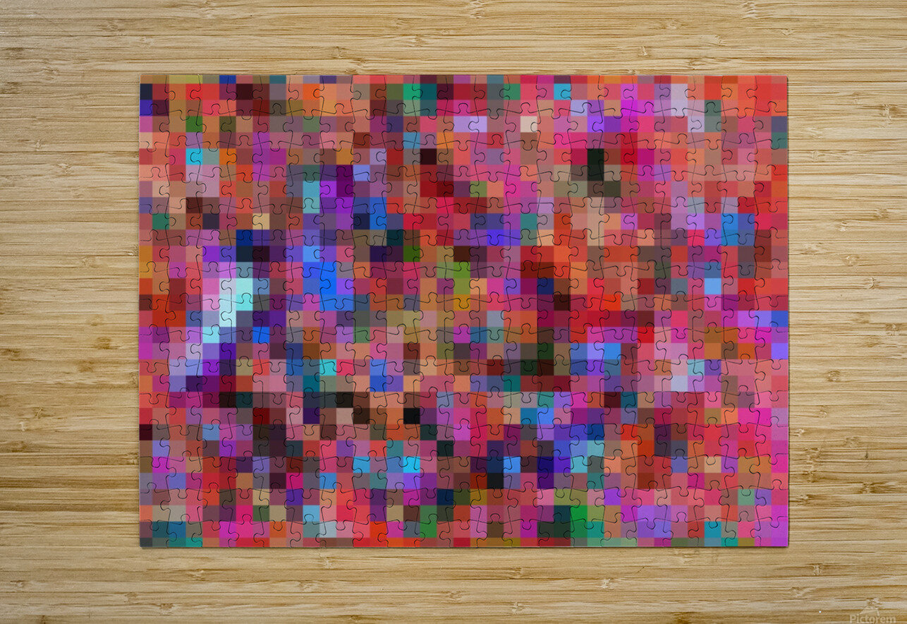 geometric square pixel pattern abstract background in pink blue orange purple  HD Metal print with Floating Frame on Back