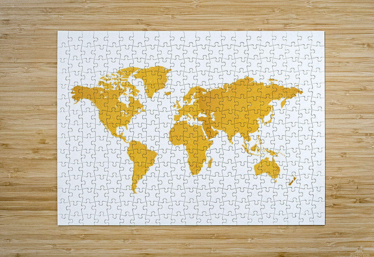 Golden World Map - White Background  HD Metal print with Floating Frame on Back