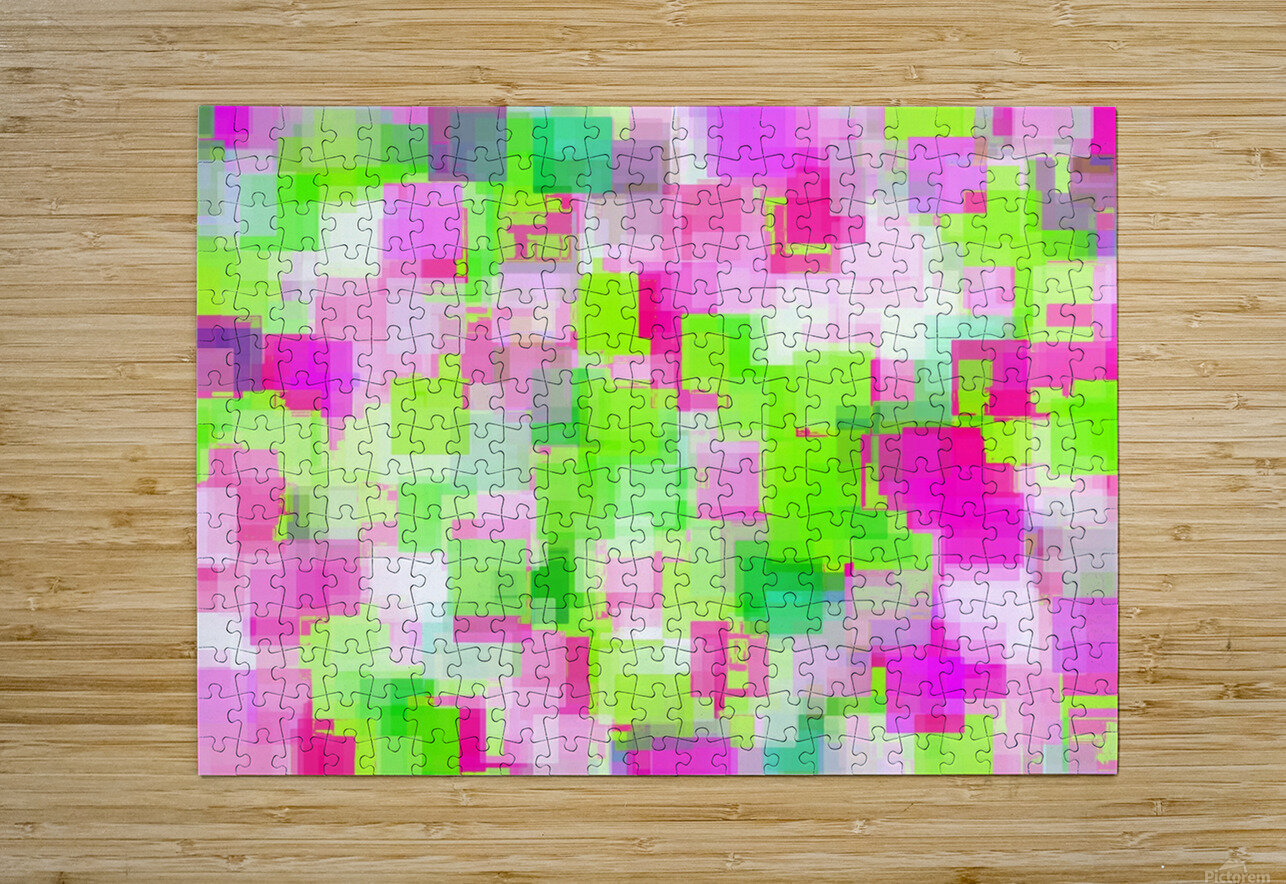 geometric square pattern abstract background in pink and green  HD Metal print with Floating Frame on Back