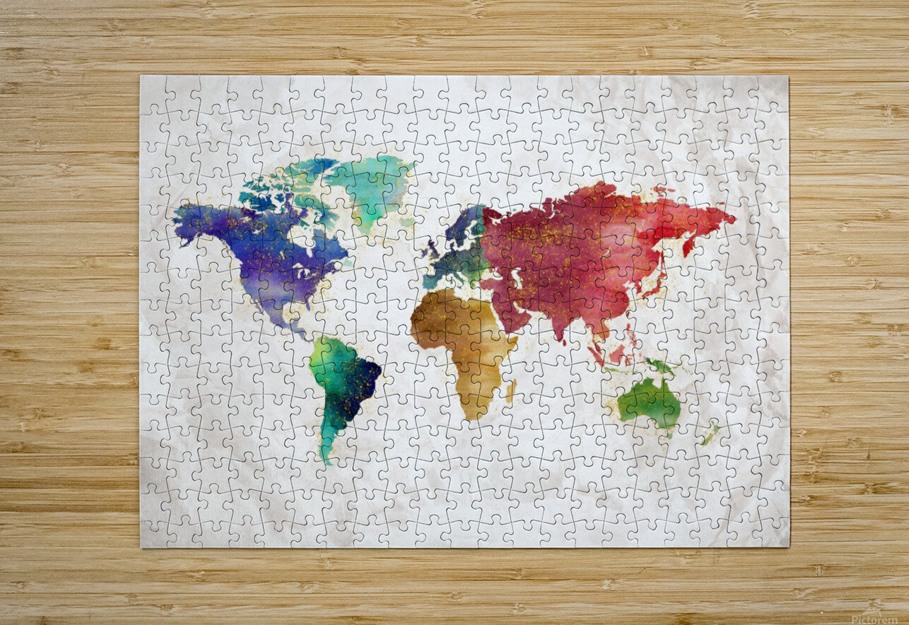 Artistic World Map II  HD Metal print with Floating Frame on Back