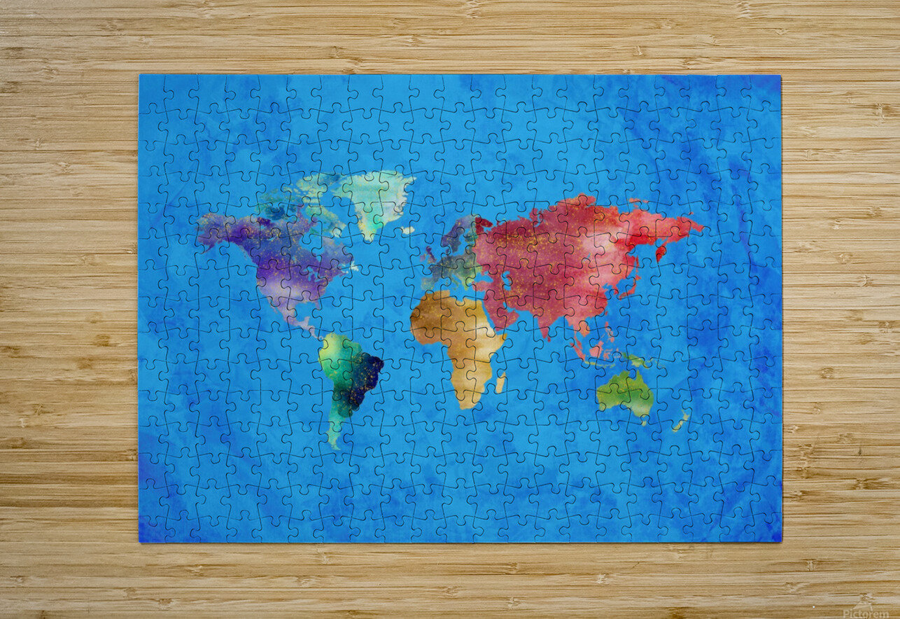 Artistic World Map III  HD Metal print with Floating Frame on Back