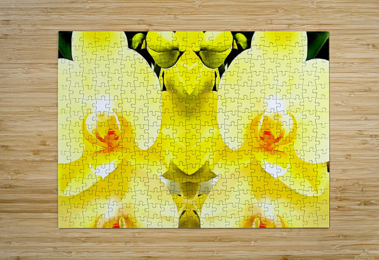 Yellow Orchid Pattern  HD Metal print with Floating Frame on Back