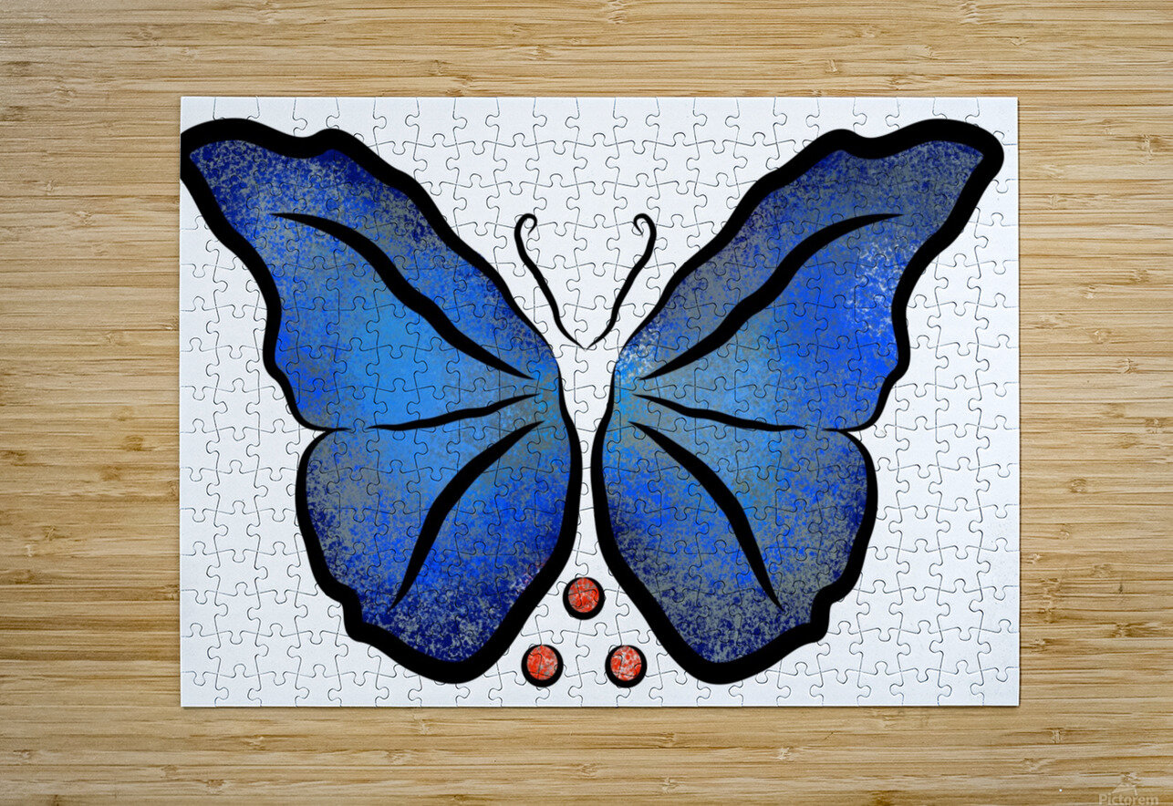 Deonioro - deep blue night butterfly with pearls  HD Metal print with Floating Frame on Back
