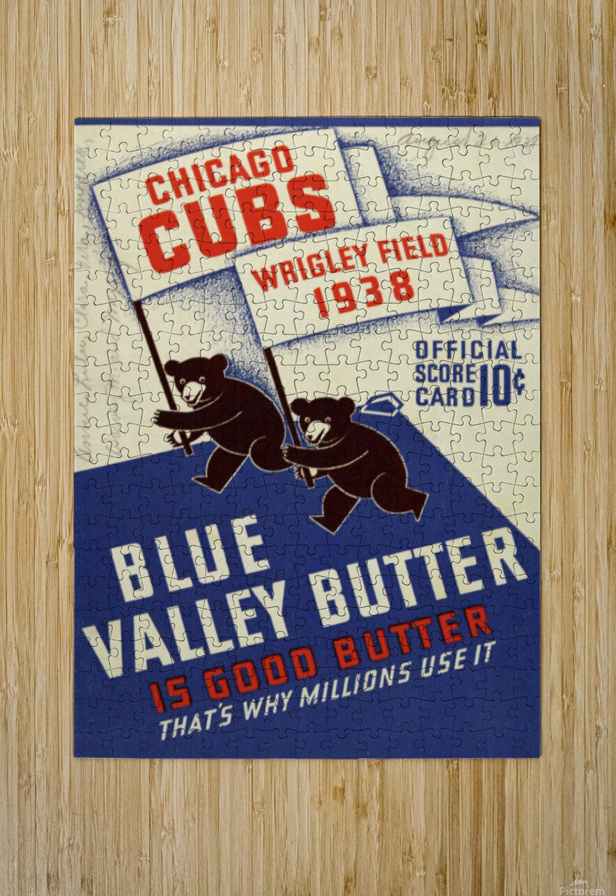 1938 Chicago Cubs Program Cover  HD Metal print with Floating Frame on Back