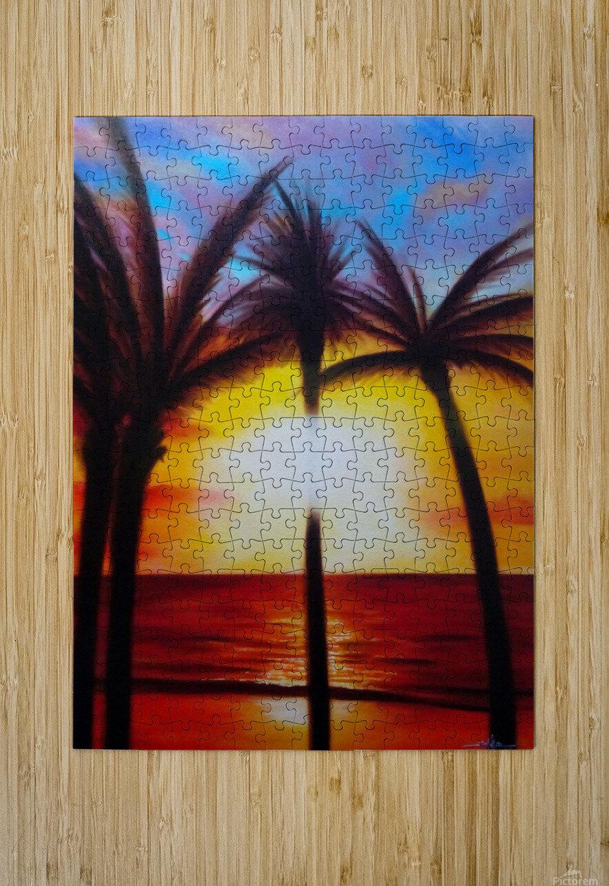 Waikiki Sunset  HD Metal print with Floating Frame on Back
