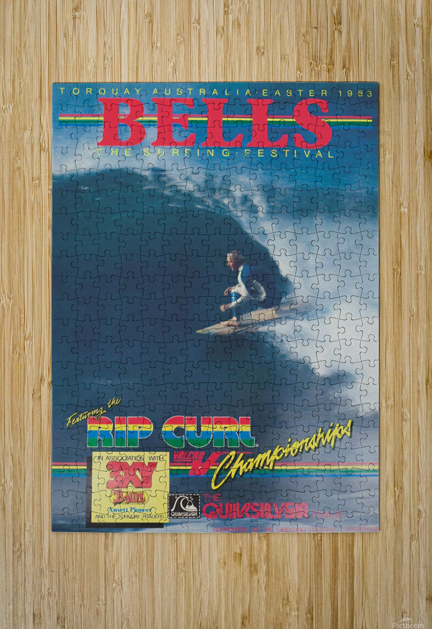 1983 RIP CURL BELLS BEACH EASTER Surfing Championship Competition Print - Surfing Poster  HD Metal print with Floating Frame on Back