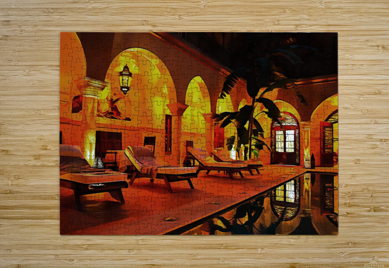 Riad At Night In Marrakech  HD Metal print with Floating Frame on Back