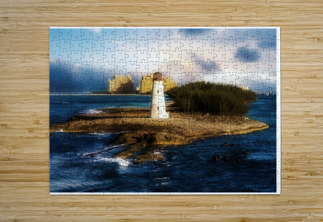 Bahamas Lighthouse with Resort Soft  HD Metal print with Floating Frame on Back