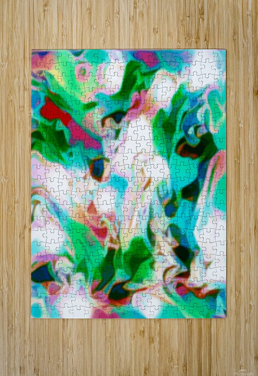 Waterfall vertical - multicolor abstract swirls  HD Metal print with Floating Frame on Back