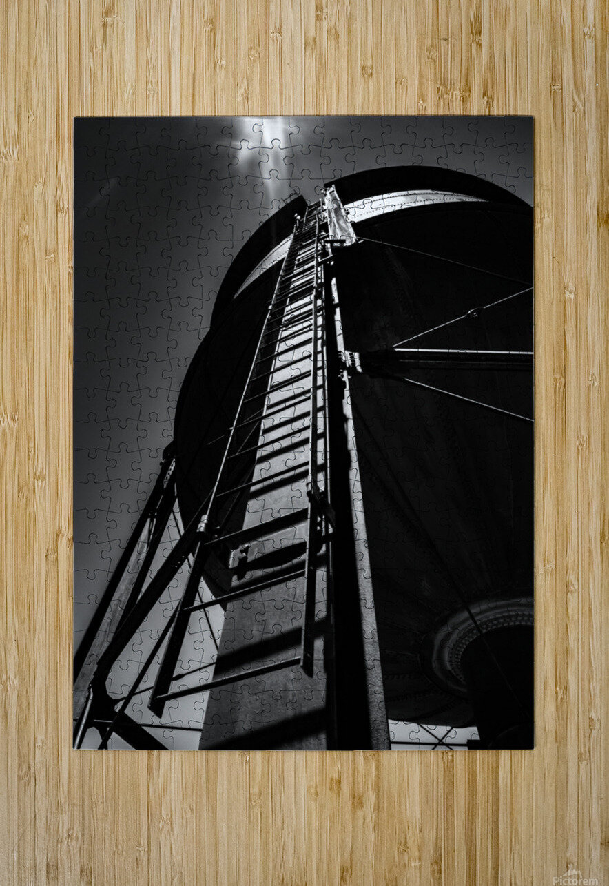 Water Tower BnW  HD Metal print with Floating Frame on Back