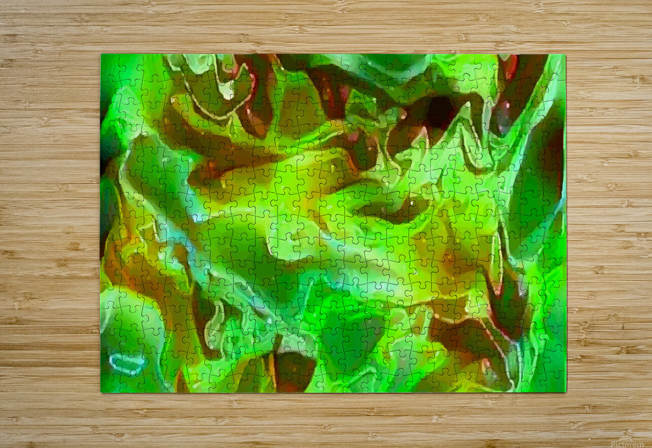 Emerald Field - green brown gold abstract swirls  HD Metal print with Floating Frame on Back