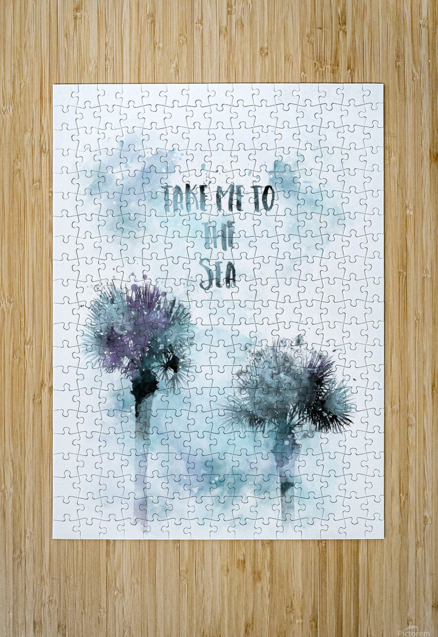 Modern Art TAKE ME TO THE SEA | jazzy watercolor  HD Metal print with Floating Frame on Back