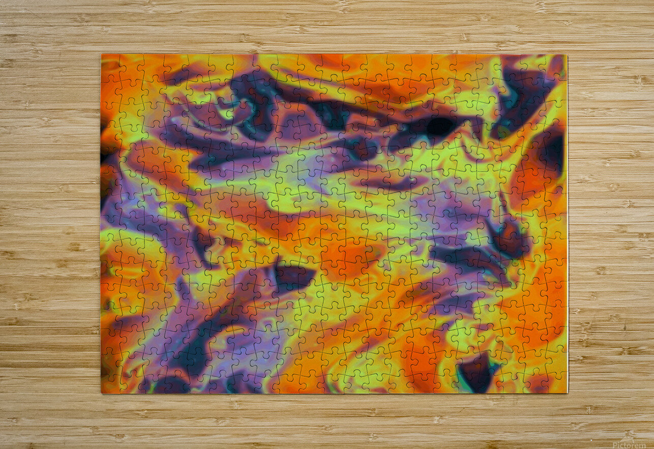 Blazin - multicolor orange gold purple abstract swirls wall art  HD Metal print with Floating Frame on Back