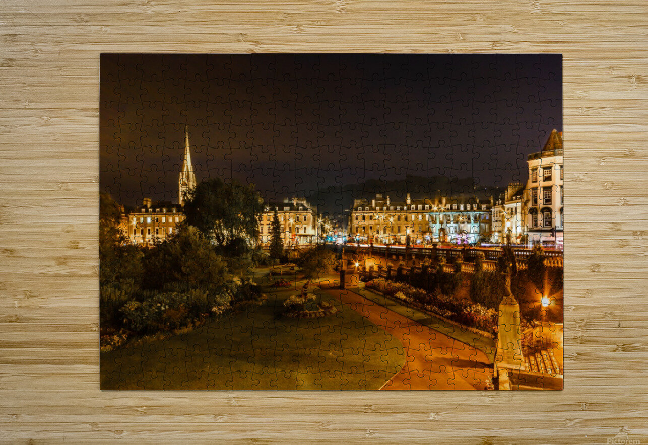 Bath at night  HD Metal print with Floating Frame on Back