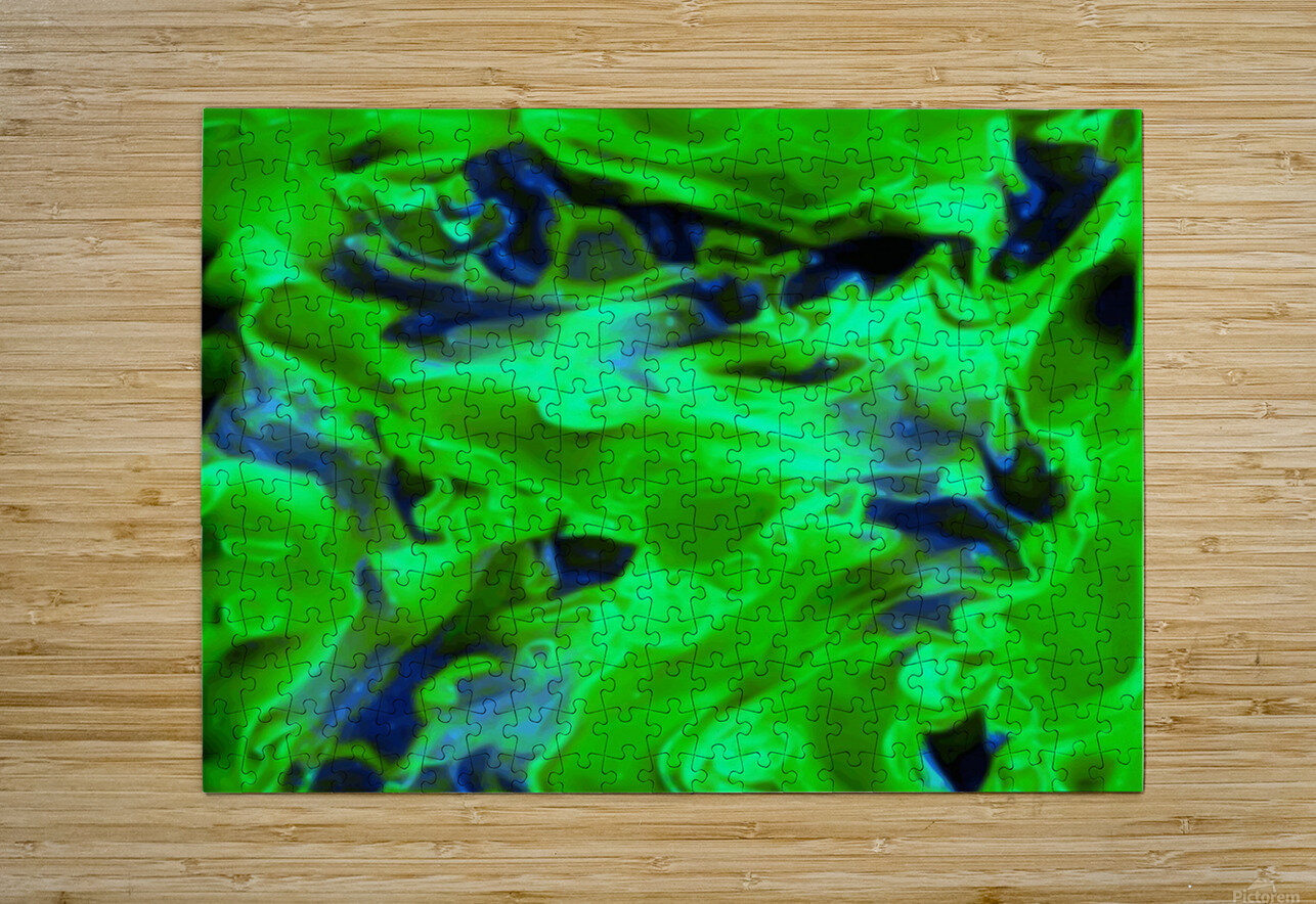 Gemphire - emerald green dark blue abstract swirls wall art  HD Metal print with Floating Frame on Back