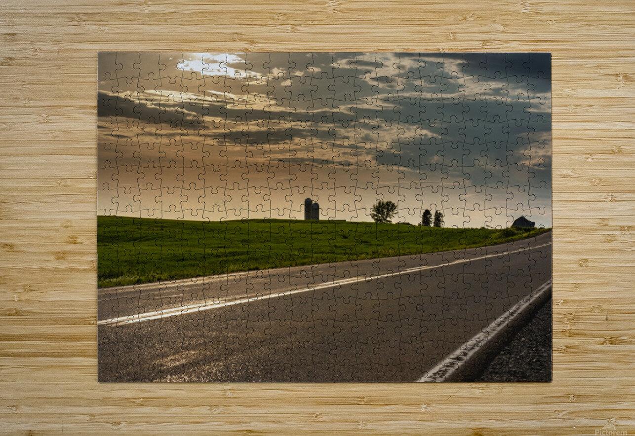A twilight on the road  Impression métal HD avec cadre flottant sur le dos