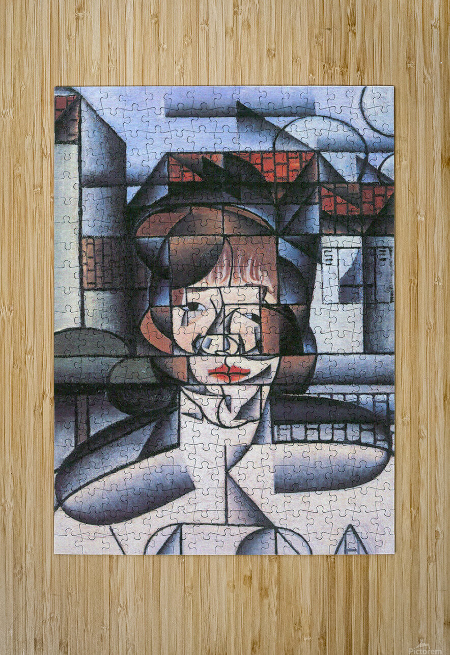 Portrait of Madame Germaine Raynal -1- by Juan Gris  HD Metal print with Floating Frame on Back