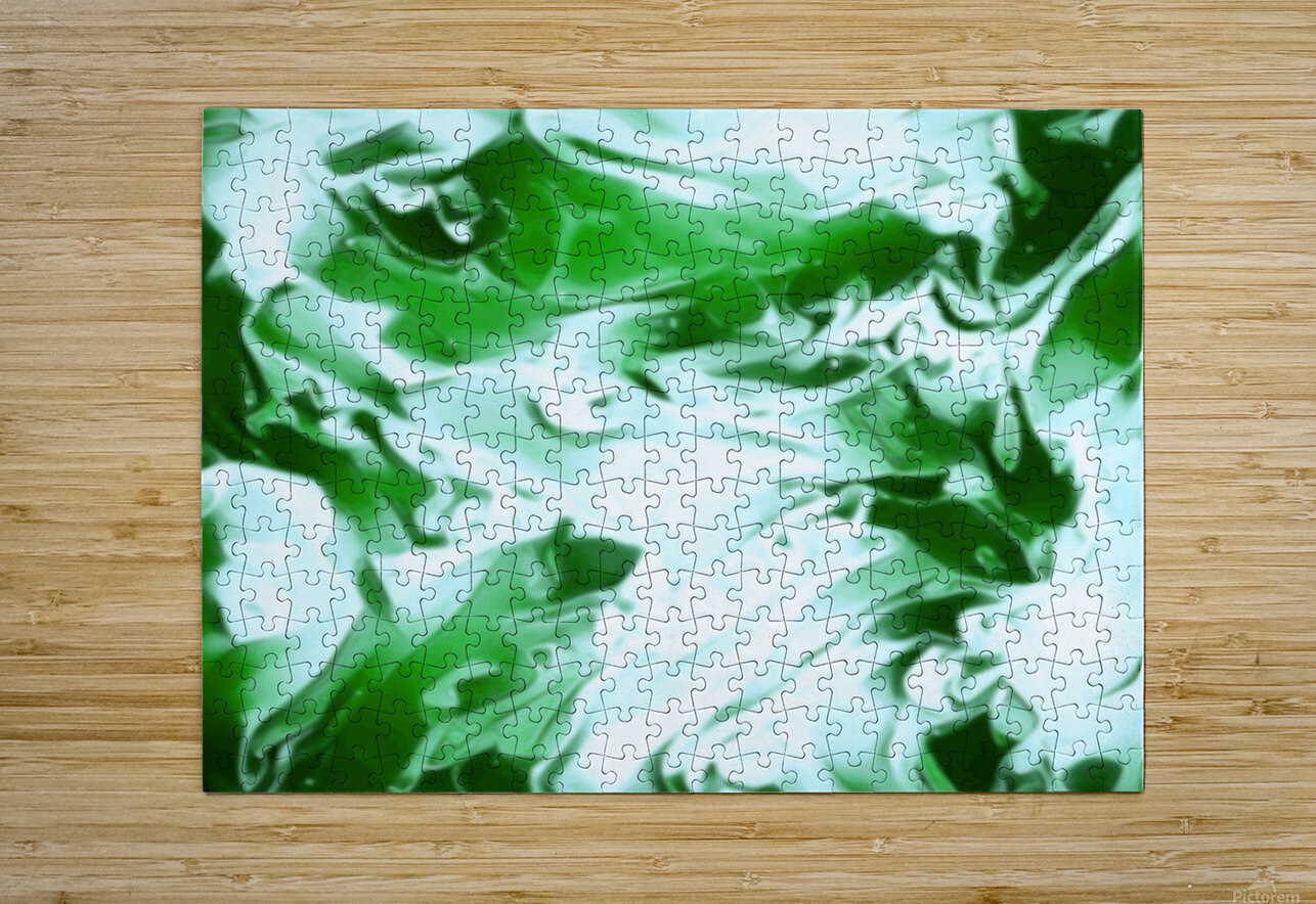 Clover - green white abstract swirl wall art  HD Metal print with Floating Frame on Back