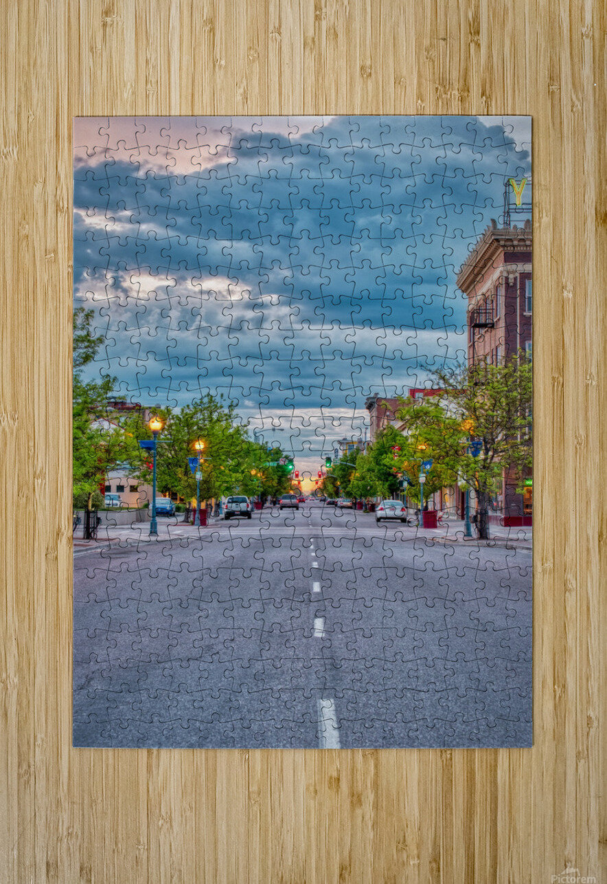 Storm Over Main Street  HD Metal print with Floating Frame on Back
