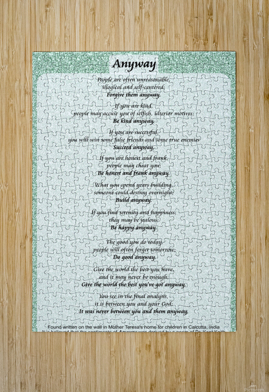 2-Anyway Poem  HD Metal print with Floating Frame on Back