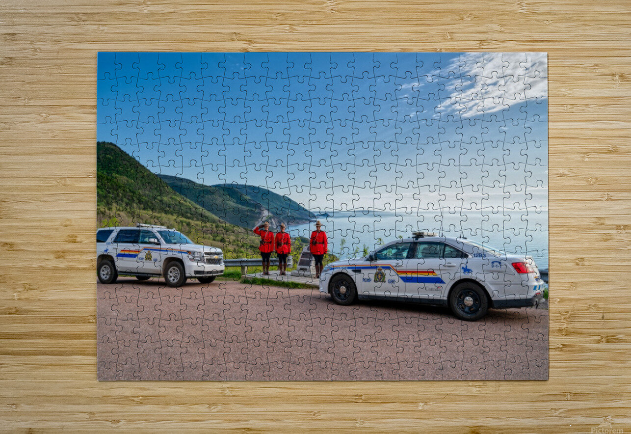 RCMP with cruisers at French Mountain Monument  HD Metal print with Floating Frame on Back