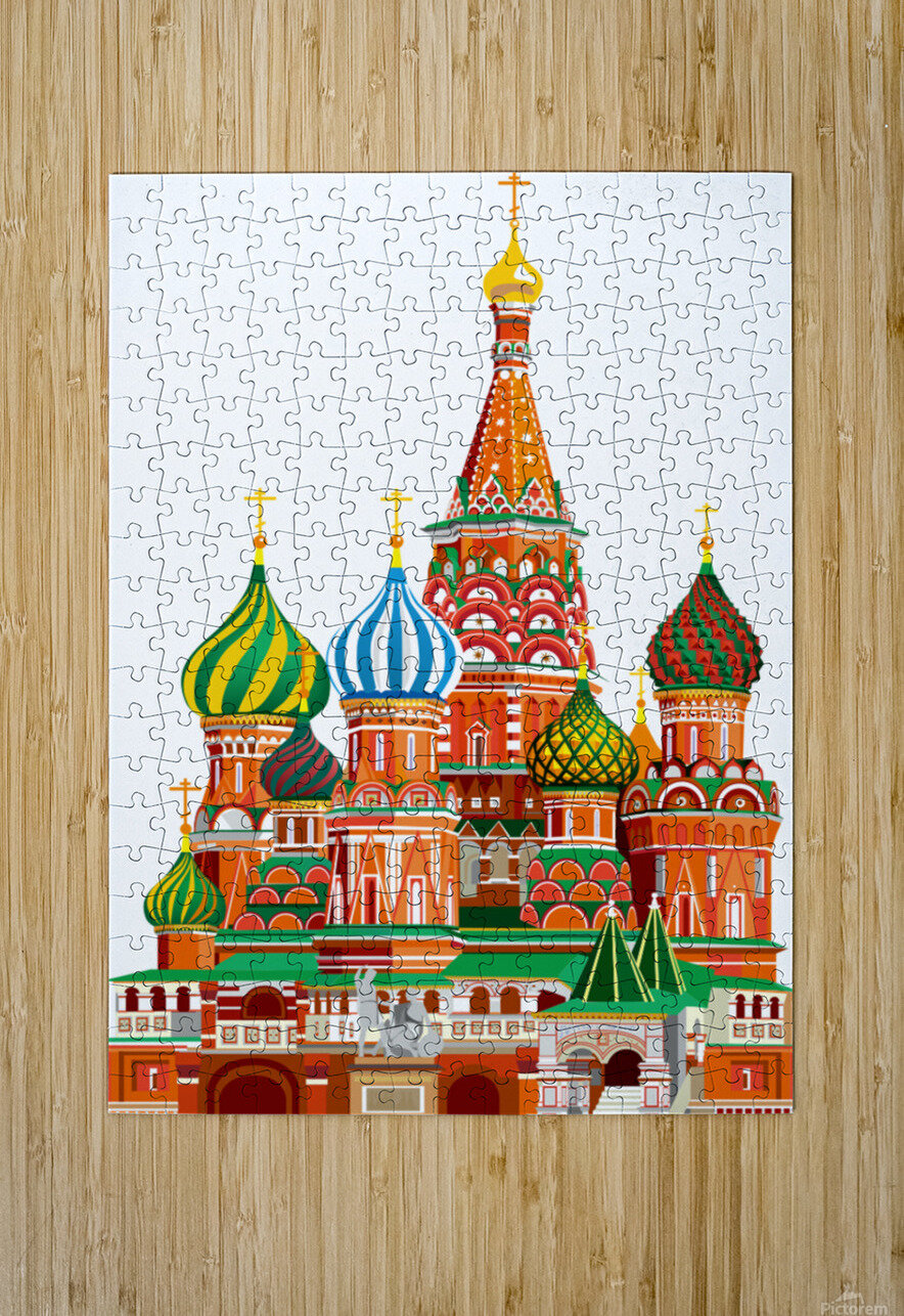 moscow kremlin saint basils cathedral red square l vector illustration moscow building  HD Metal print with Floating Frame on Back