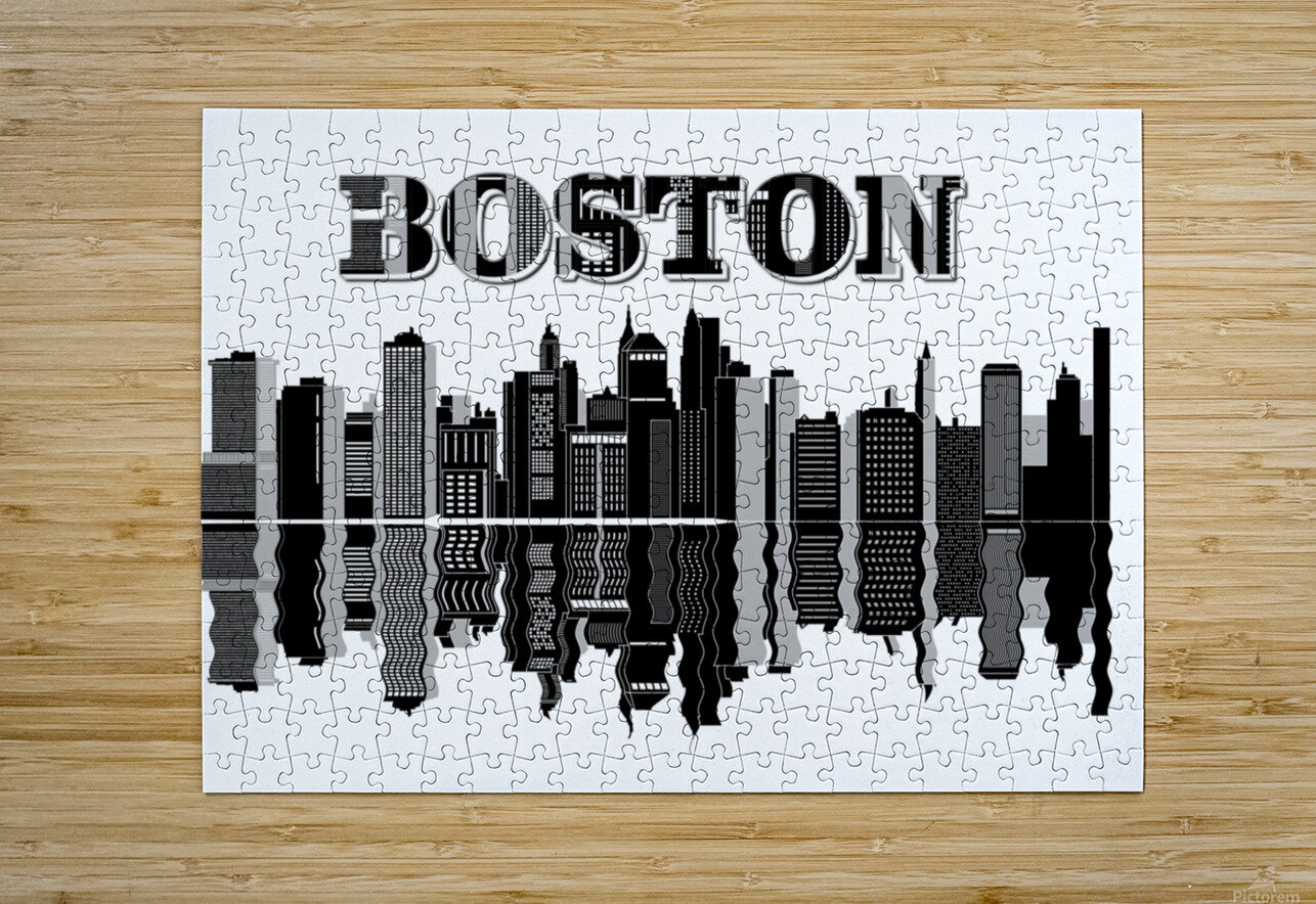 Boston cityscape buildings skyscrapers  HD Metal print with Floating Frame on Back