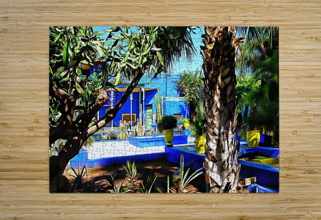 Yellow and Blue Contrasts Jardin Majorelle  HD Metal print with Floating Frame on Back