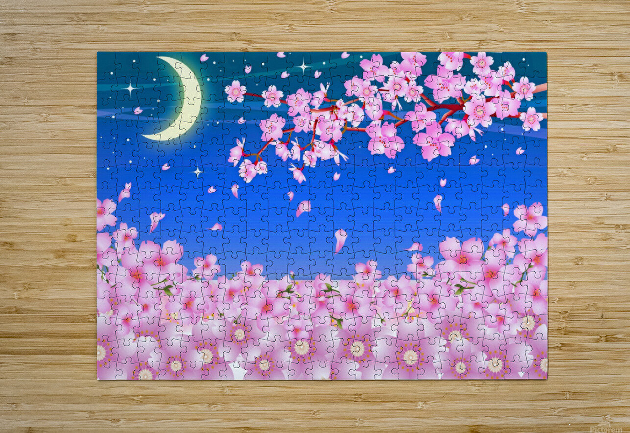 sakura cherry blossom night moon  HD Metal print with Floating Frame on Back