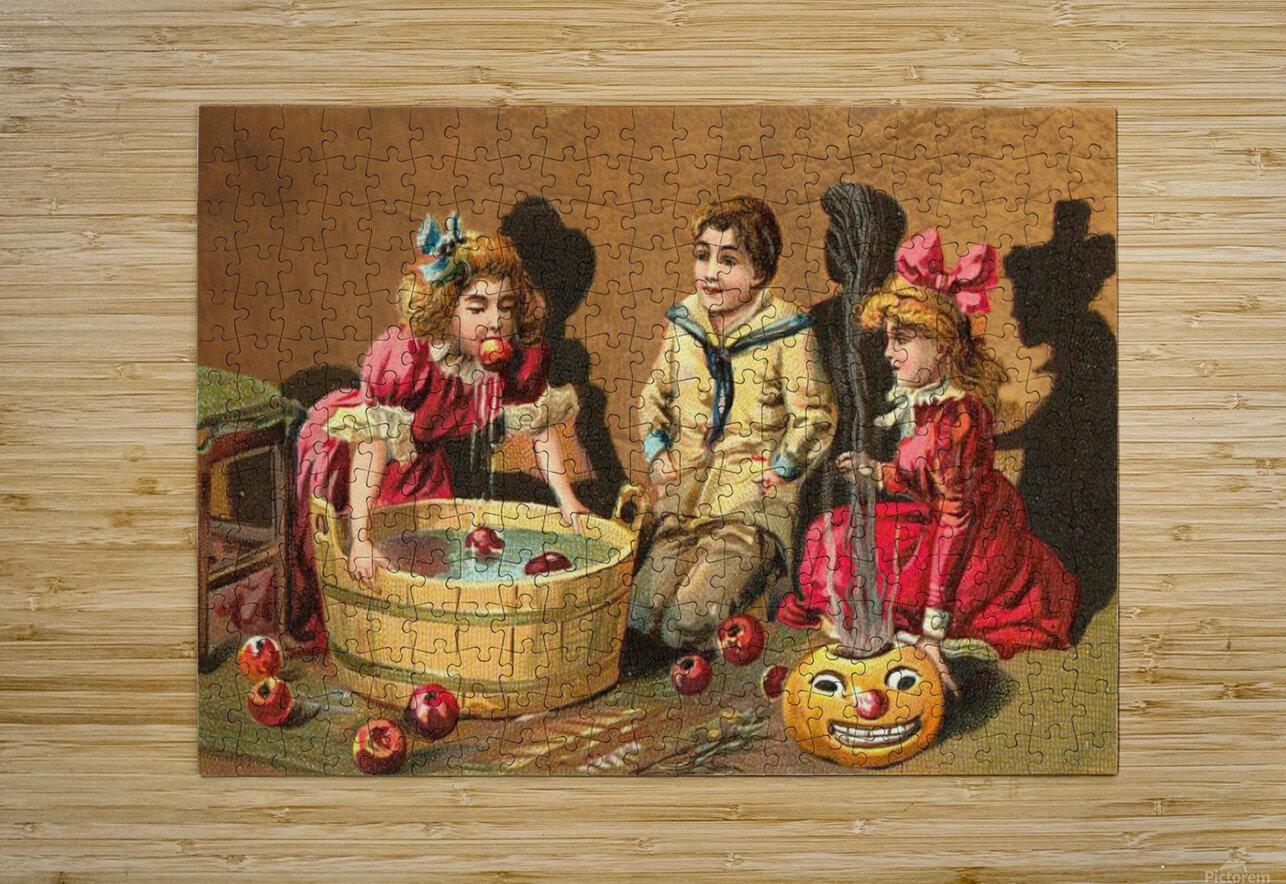 halloween vintage kids card happy  HD Metal print with Floating Frame on Back