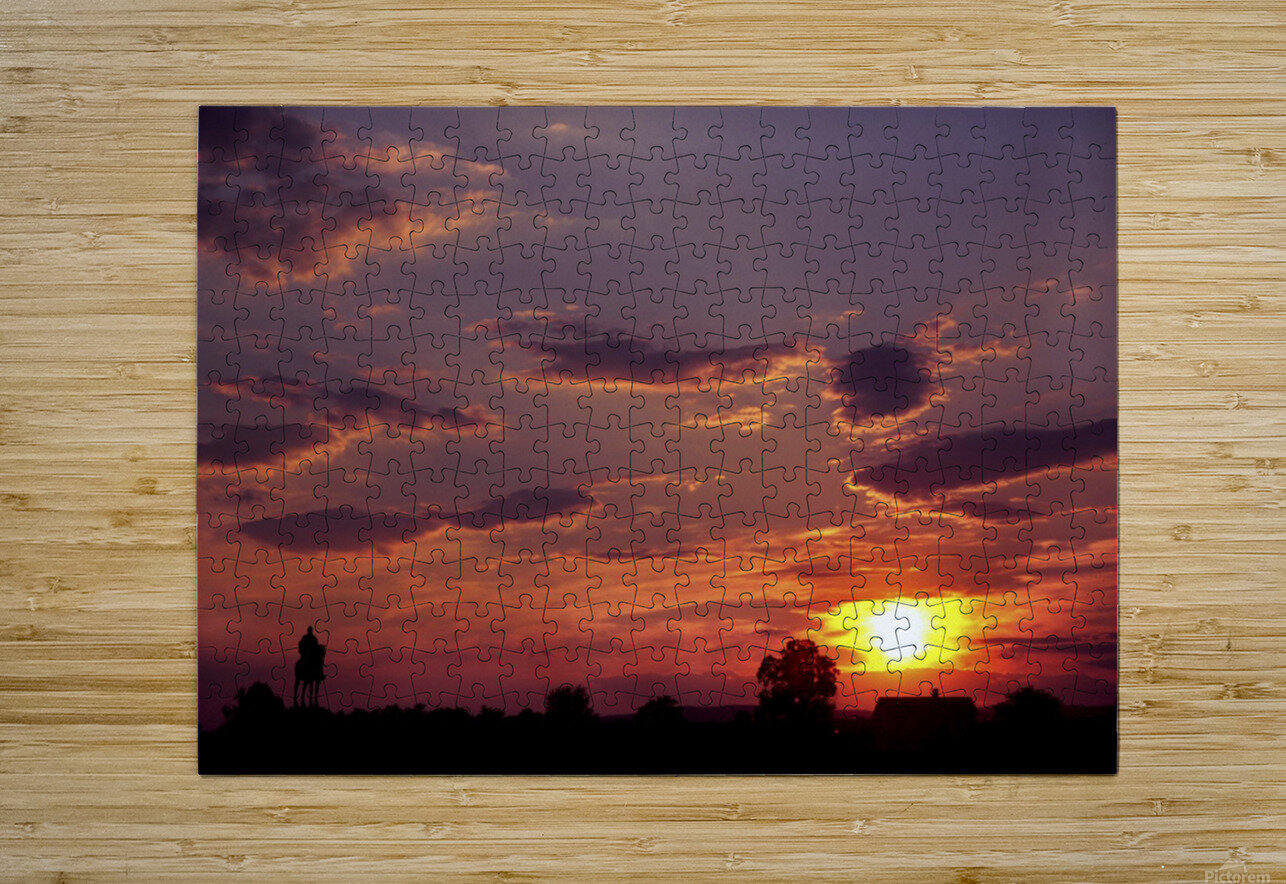 Manasas Battlefields Sunset With Statue Silhouette in left Corner  HD Metal print with Floating Frame on Back