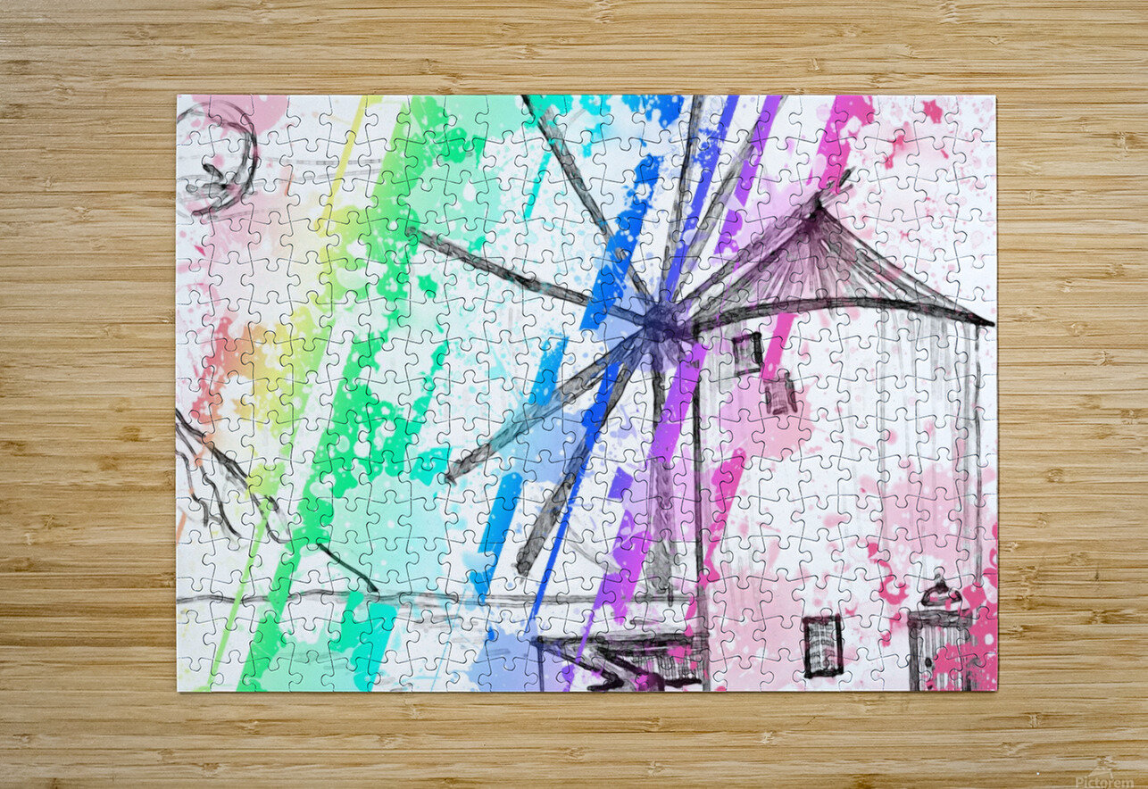 windmill art print multicolor 02  HD Metal print with Floating Frame on Back