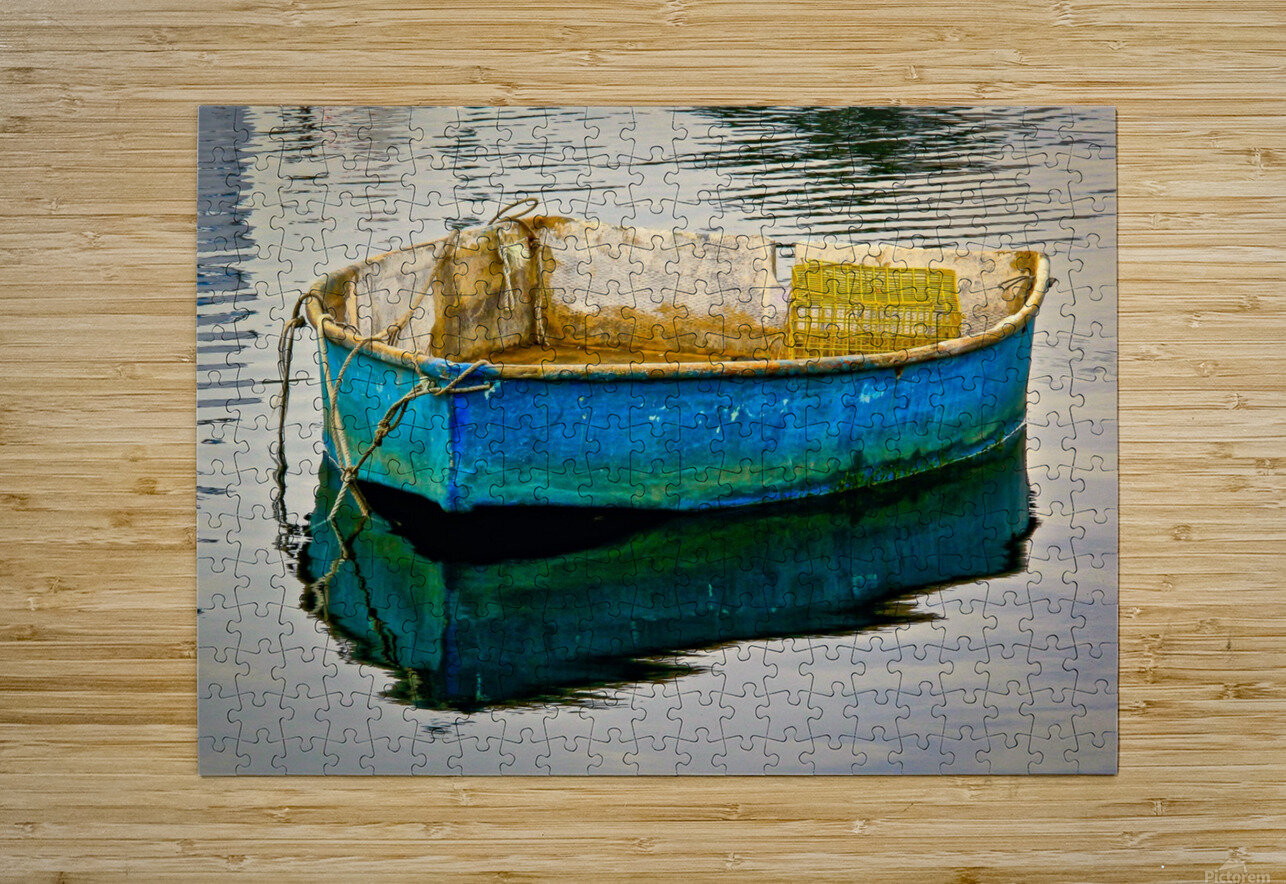 Anchored Boat at Dawn  HD Metal print with Floating Frame on Back