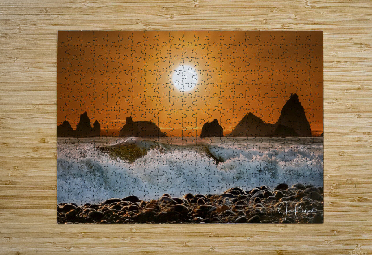 Sunset at Rialto Beach  HD Metal print with Floating Frame on Back