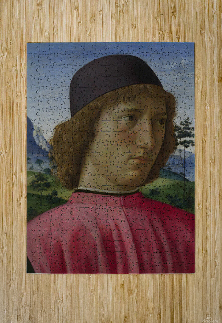 Portrait of a young men in red  HD Metal print with Floating Frame on Back