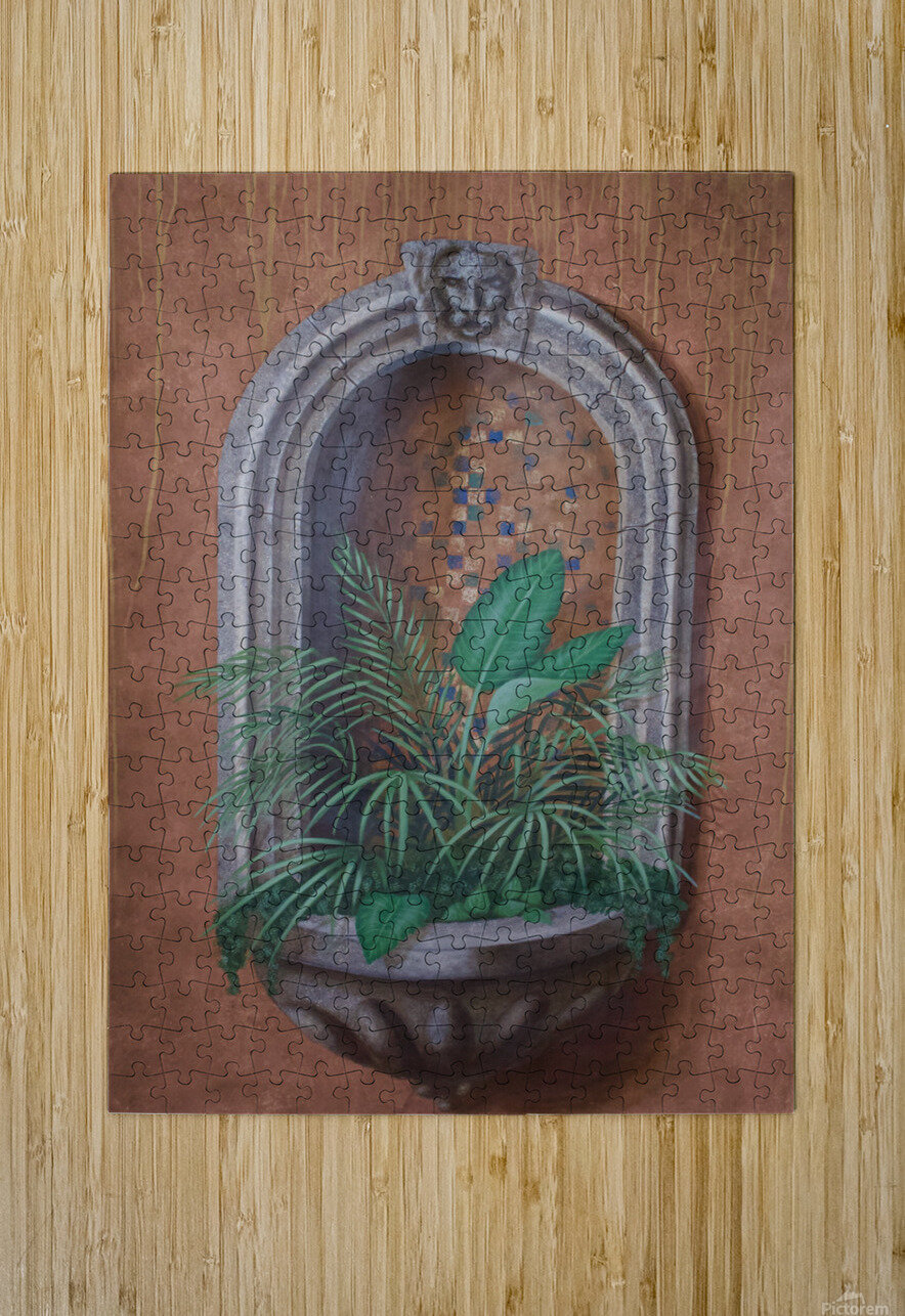 Wall Alcove with Plants - Trompe Loeil  HD Metal print with Floating Frame on Back