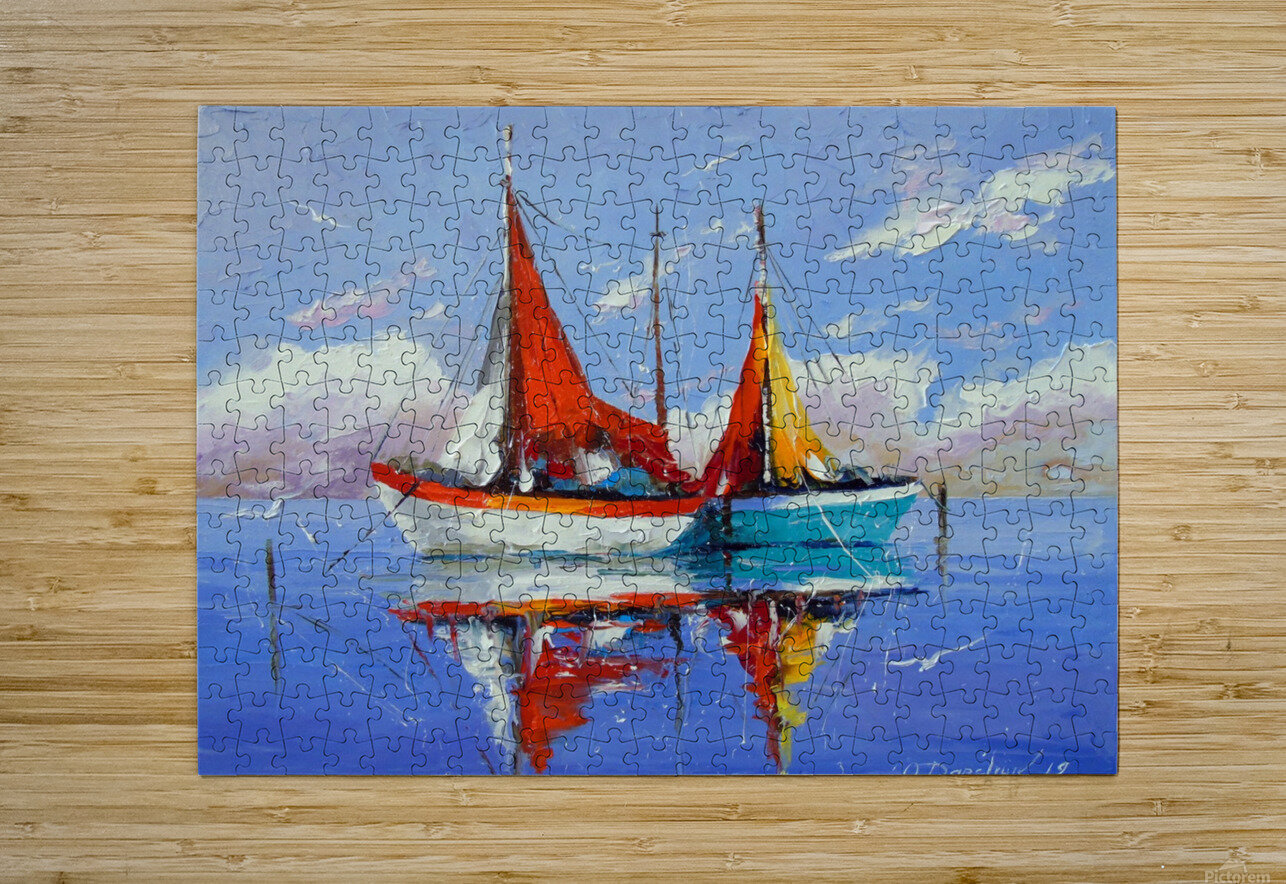 Sailboats in the sea  HD Metal print with Floating Frame on Back