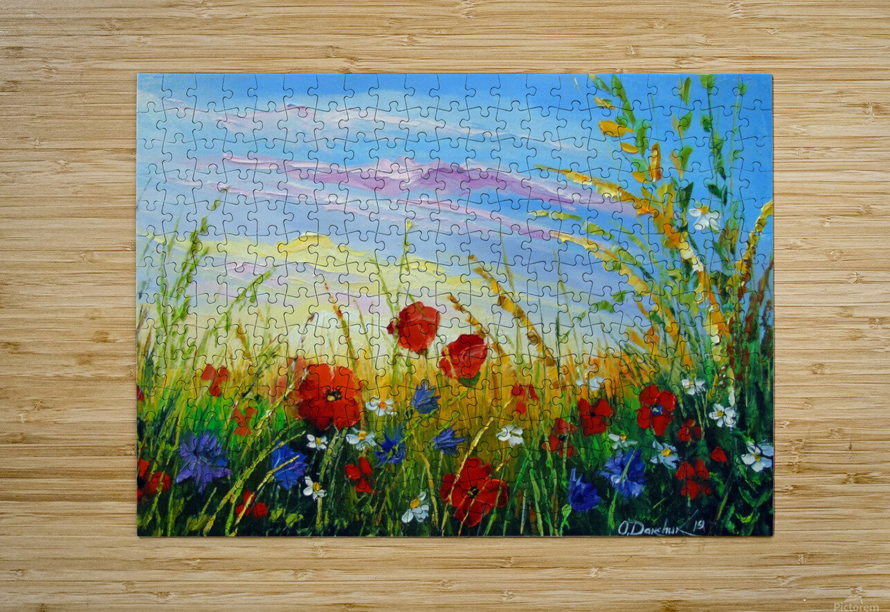 Summer flowers in the oil painting field  HD Metal print with Floating Frame on Back