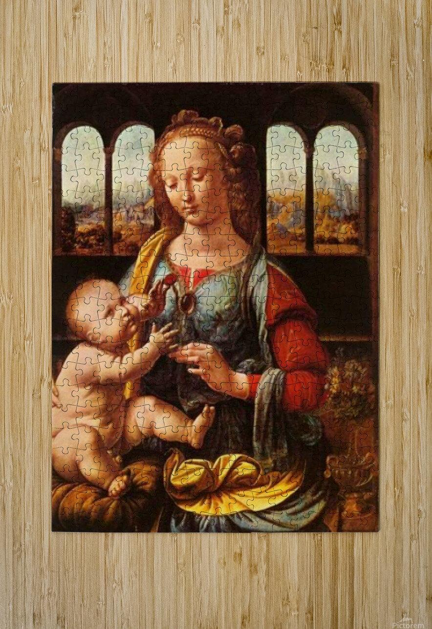 Leonardo da Vinci. The Madonna of the Carnation HD 300ppi  HD Metal print with Floating Frame on Back