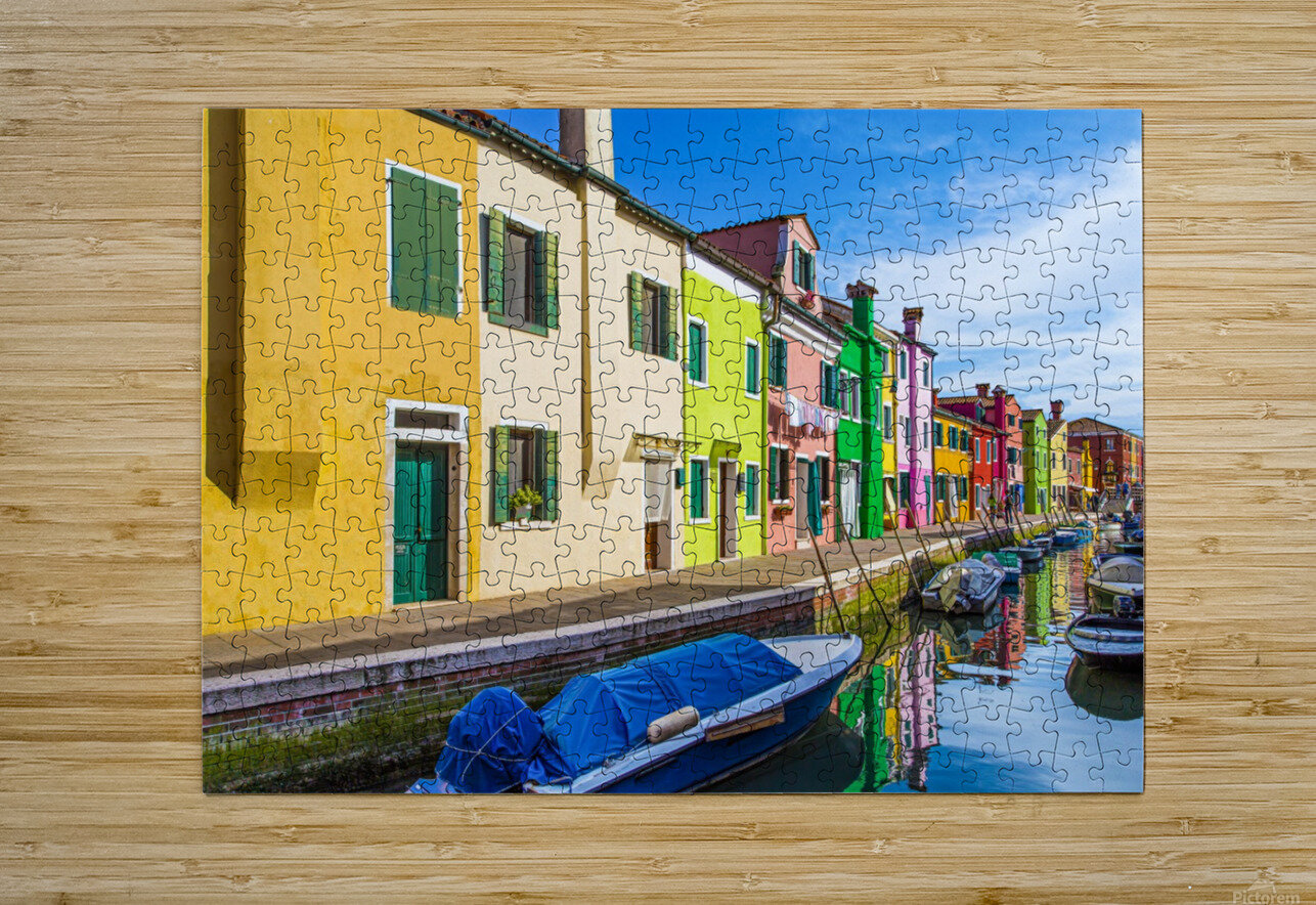 Boats in Burano  HD Metal print with Floating Frame on Back