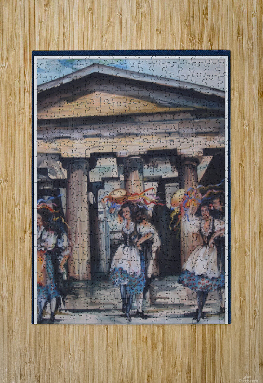 Italian Tamborine Dancers   HD Metal print with Floating Frame on Back