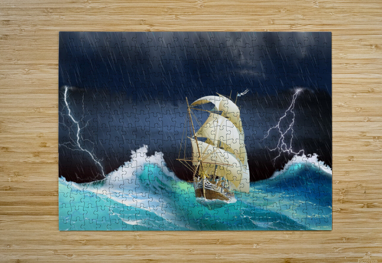 Dangerous journey sailing ship.   HD Metal print with Floating Frame on Back