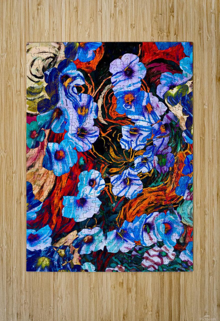 floral mottled indigo  HD Metal print with Floating Frame on Back