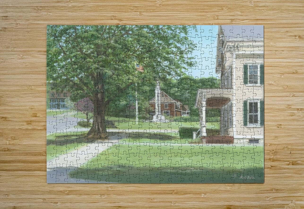 Main Street Monument - Newtown Scenes 16X16  HD Metal print with Floating Frame on Back
