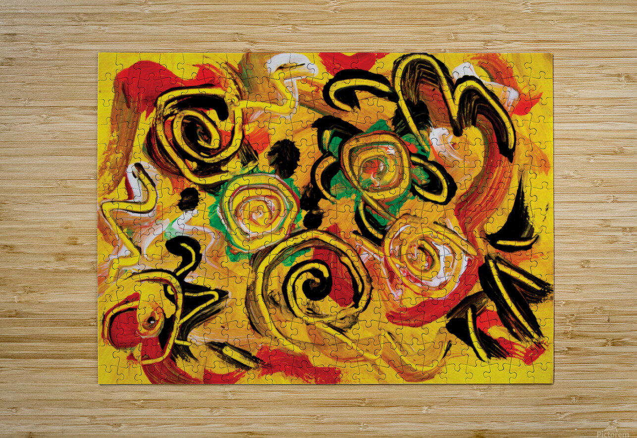 abstract yellow swirls  HD Metal print with Floating Frame on Back