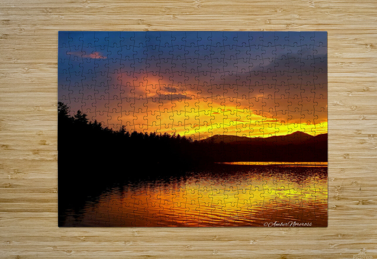 Firey Sunset  HD Metal print with Floating Frame on Back