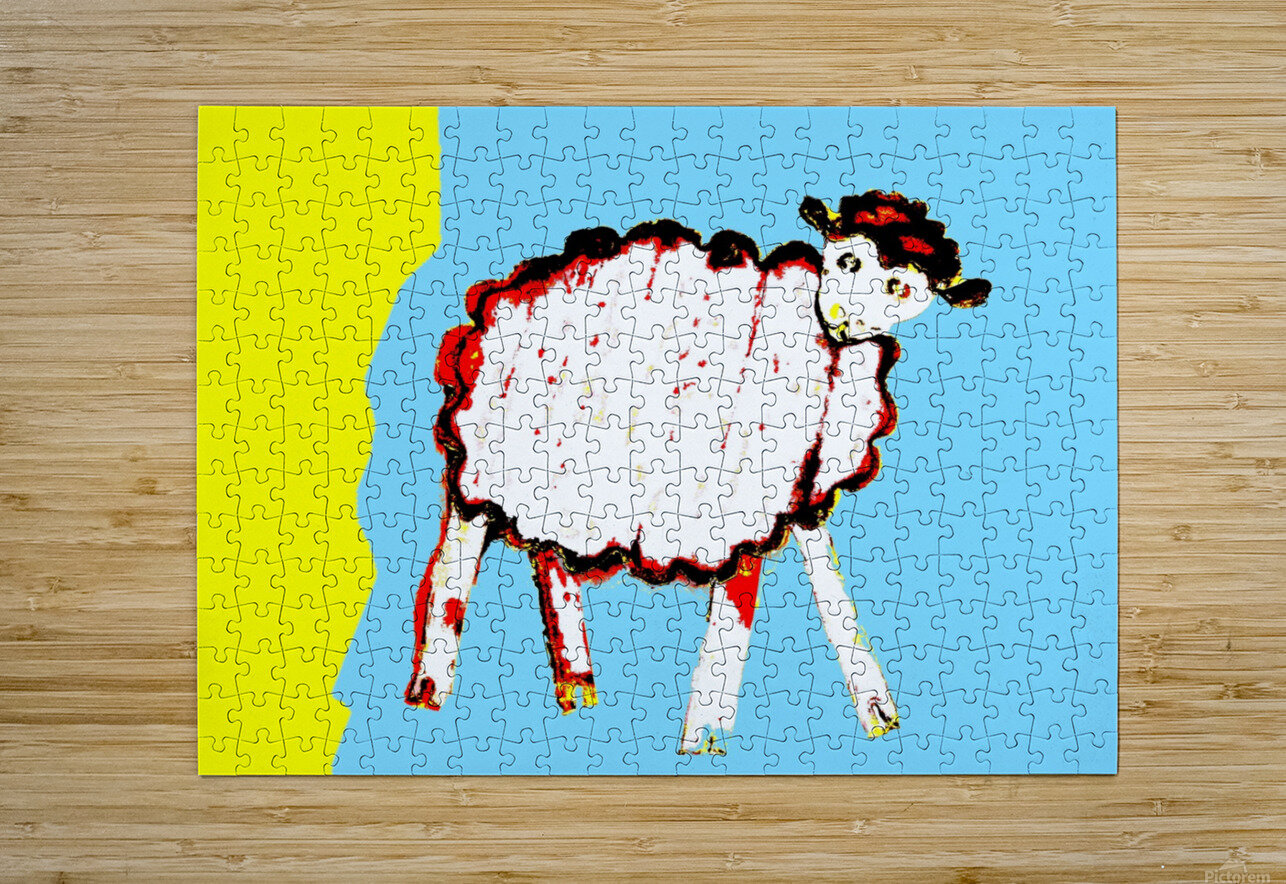 Little Aussie Sheep - Blue  HD Metal print with Floating Frame on Back